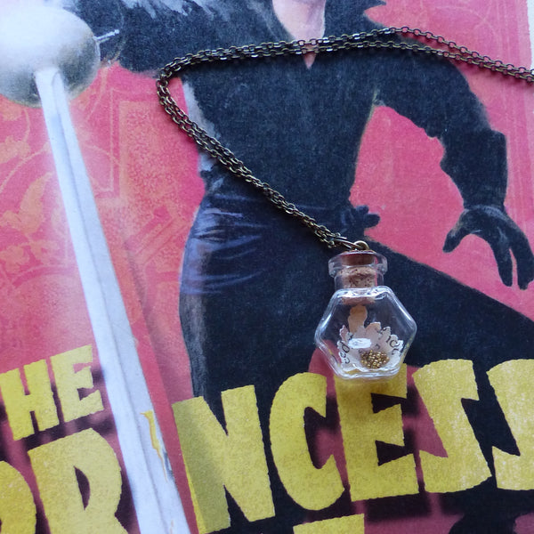 The Princess Bride daisy in hexagon bottle necklace