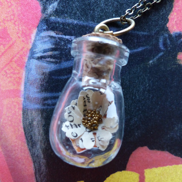 The Princess Bride daisy in bulb bottle necklace