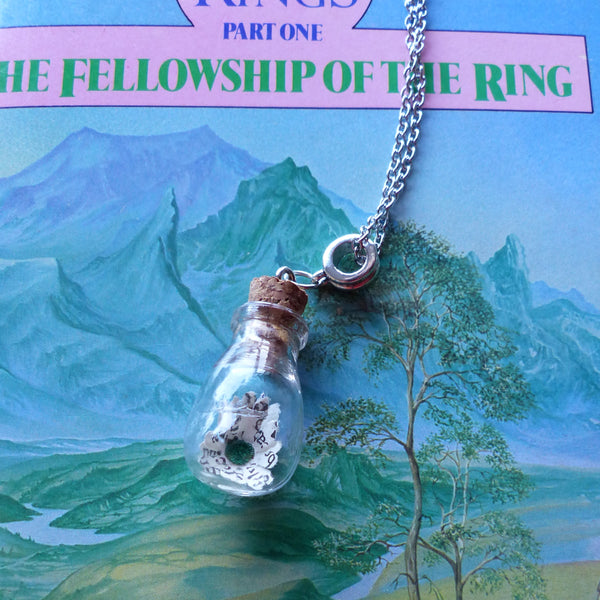 Fellowship of the rings daisy in bulb bottle necklace