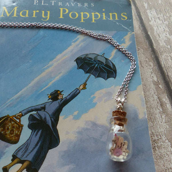 Mary Poppins in bulb bottle necklace