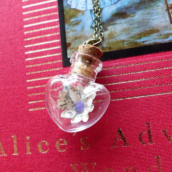 Book art Alice necklace