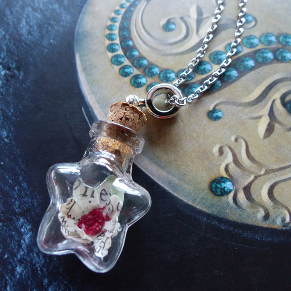 Deathly Hallows red daisy in star bottle necklace