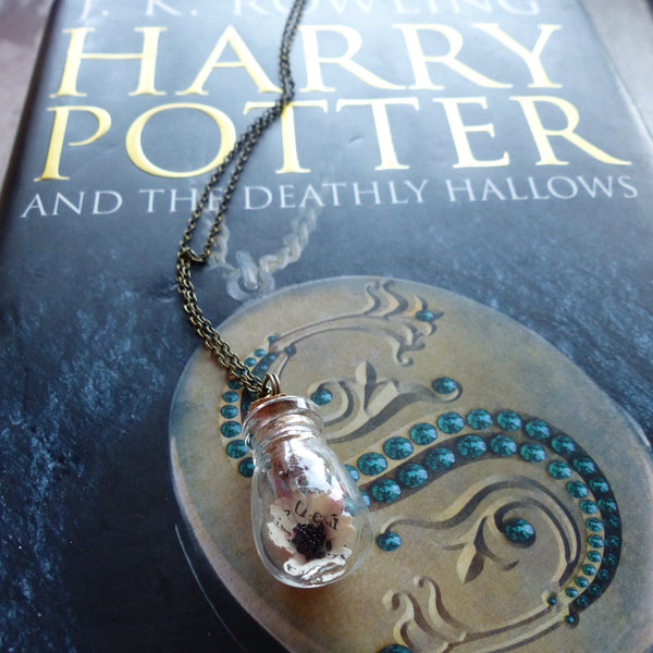 Deathly Hallows book daisy necklace black heart