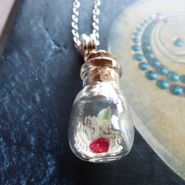 Deathly Hallows daisy in bulb bottle necklace