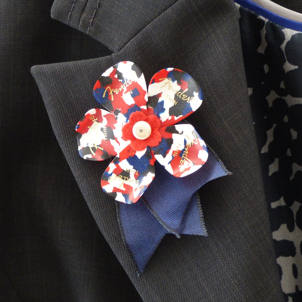 red white & blue fender guitar pick buttonhole