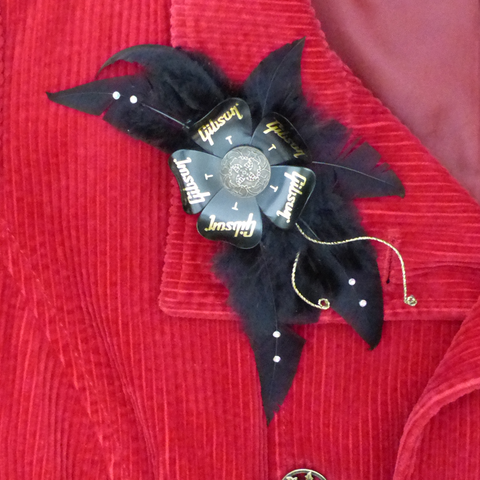 Gibson guitar pick corsage or hairclip