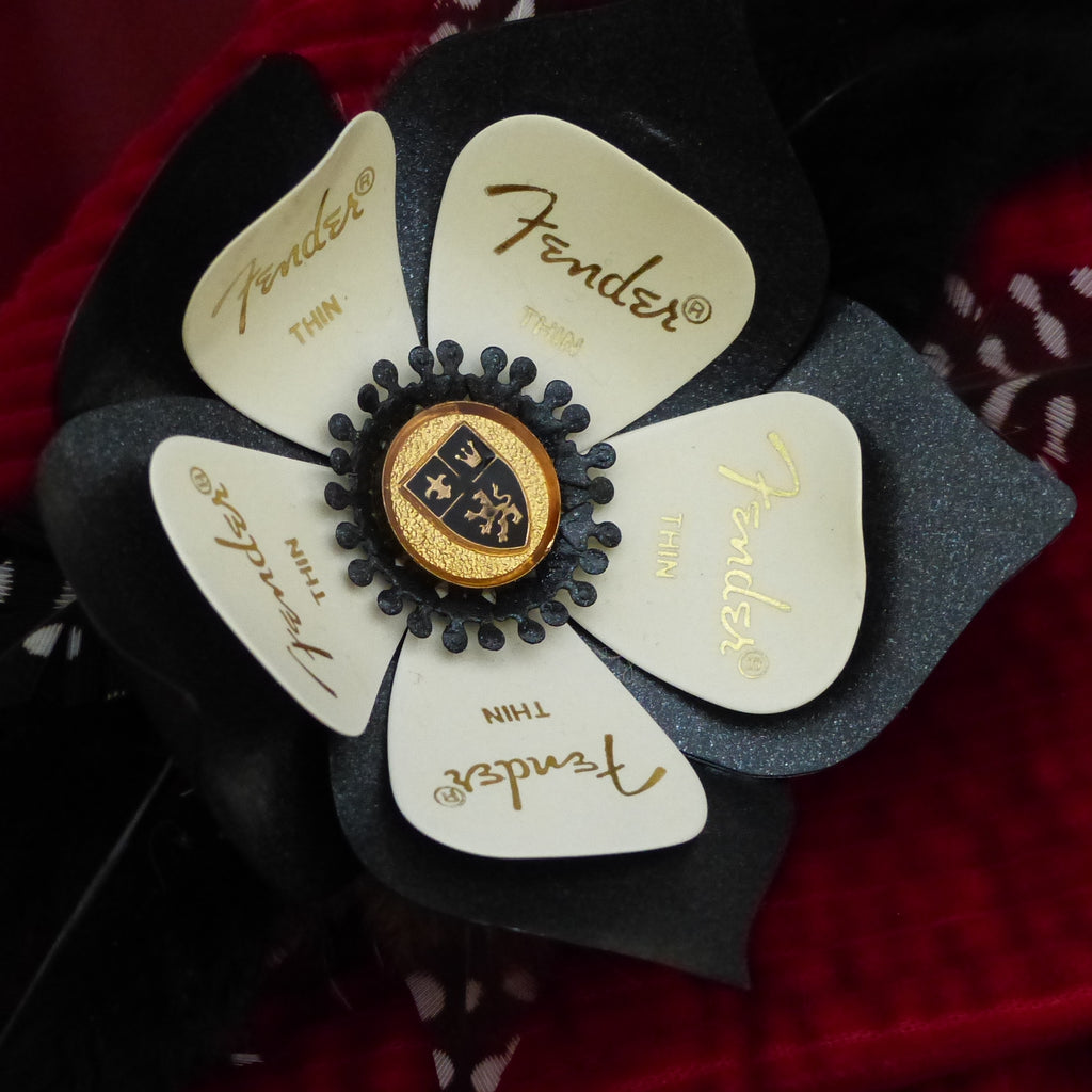 white fender guitar pick hairclip