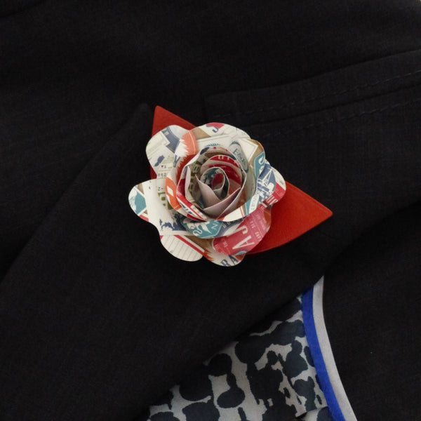 Paper rose travel theme Boutonnière
