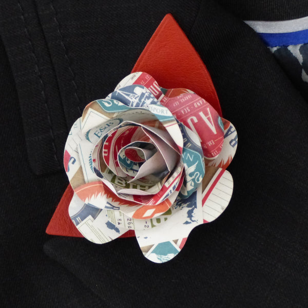 Travel theme paper rose buttonhole