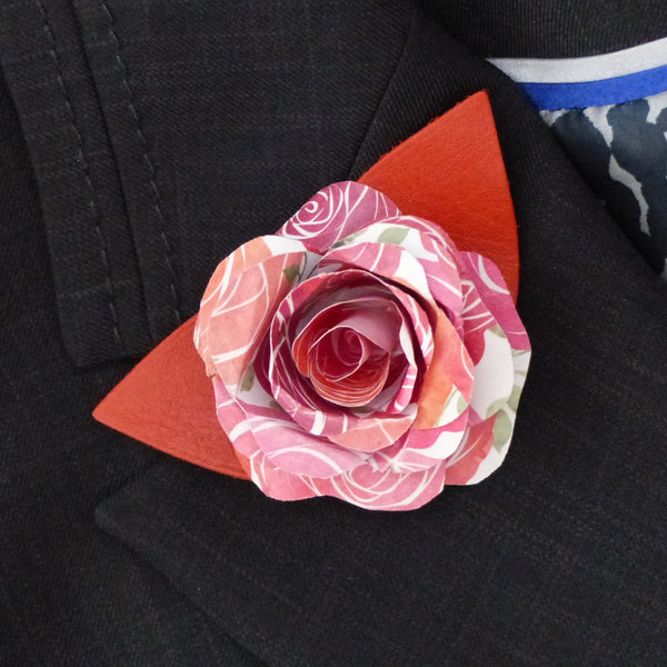 Paper rose pink and orange Boutonnière