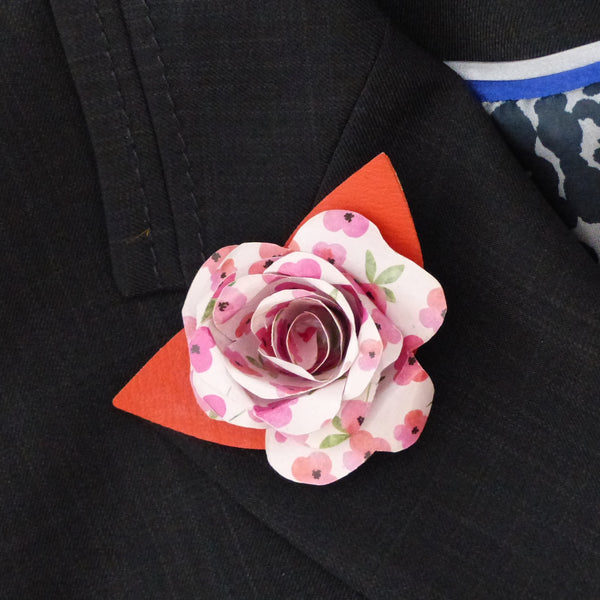 Pink white and orange paper rose buttonhole