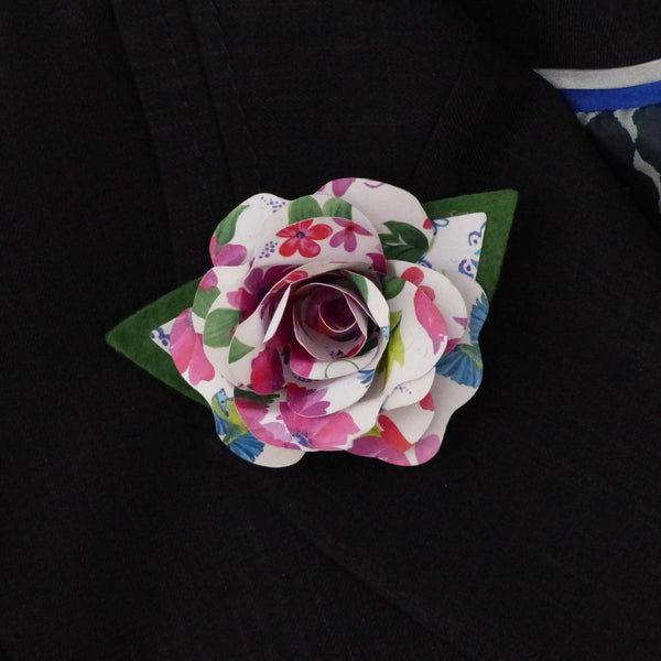 Paper rose pink and green Boutonnière