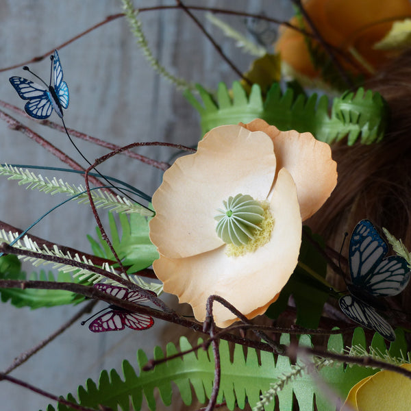 Midsummer paper poppy butterfly headdress woodland nymph wedding