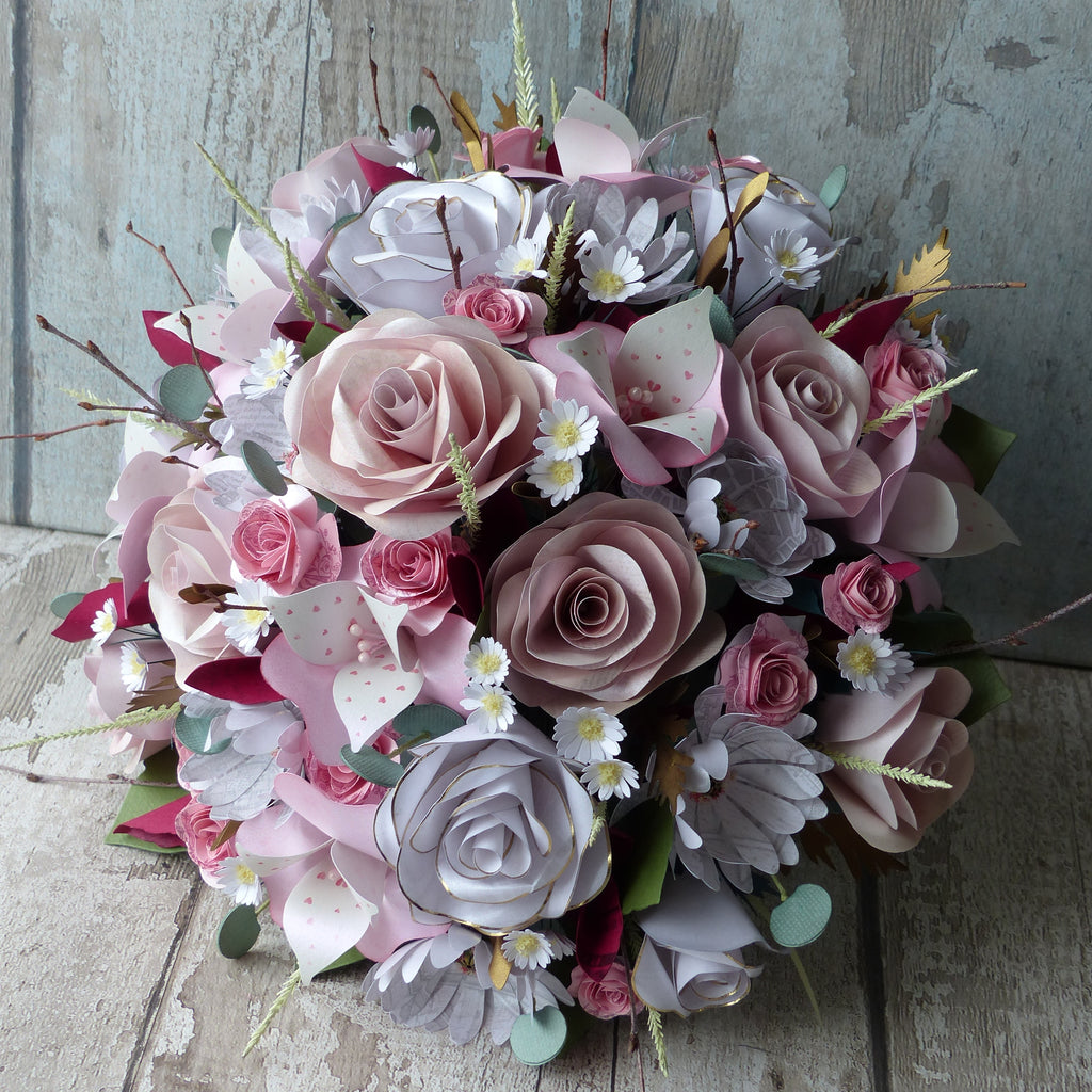 Pink & white paper flower bouquet
