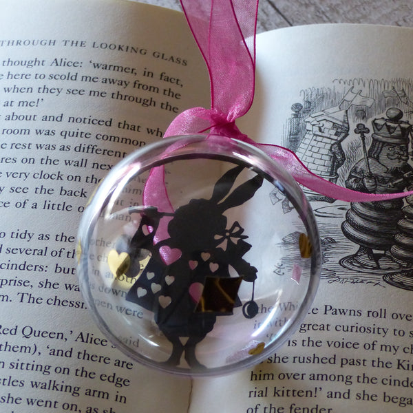The white rabbit black silhouette from wonderland paper cut bauble