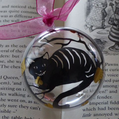 The Cheshire cat black silhouette from wonderland paper cut bauble