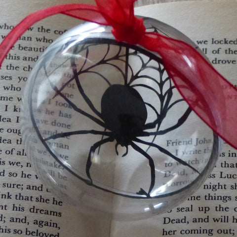 Spider and web silhouette bauble