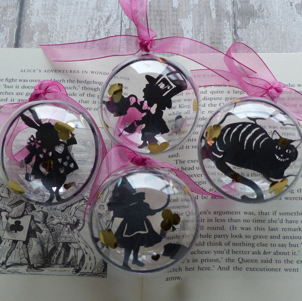 Alice black silhouette from wonderland paper cut bauble