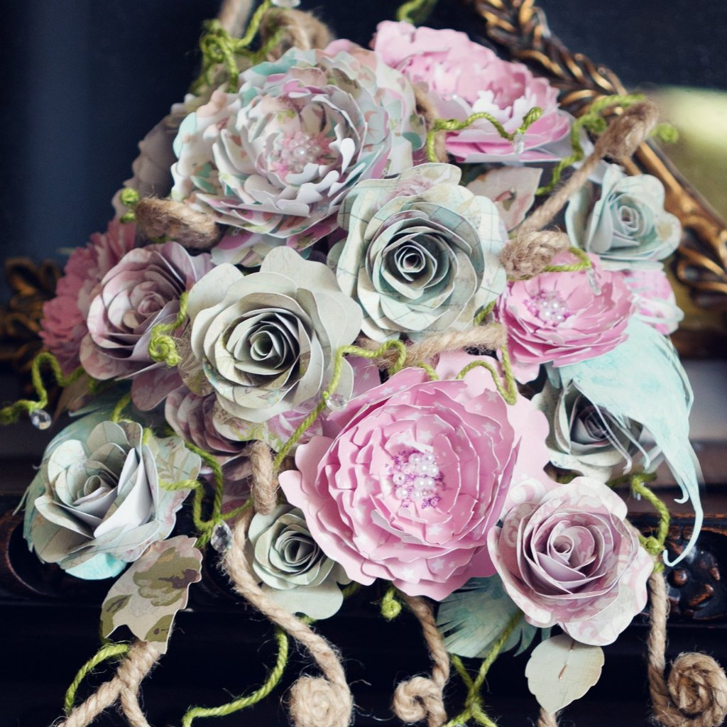 Paper rose bridal bouquet