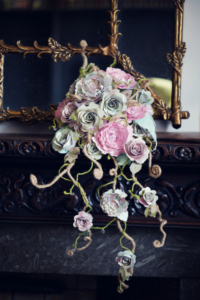 Paper rose wedding bouquet Alternative fake flowers