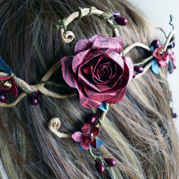 Red rose paper crown