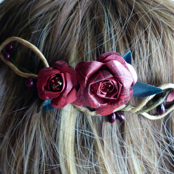 Red rose paper headdress crown