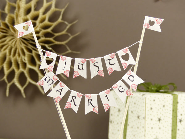Just married cake bunting red flags
