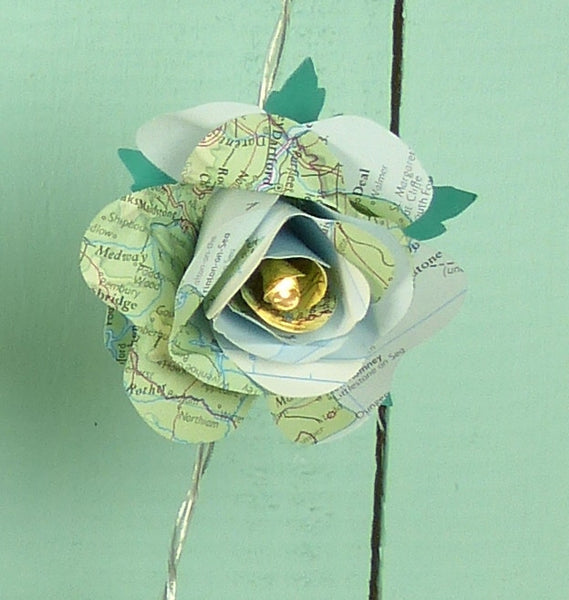 Map Paper Rose fairy lights