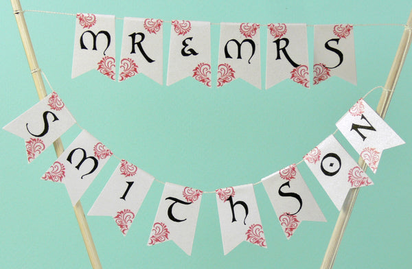 Red & Black wedding cake bunting calligraphy