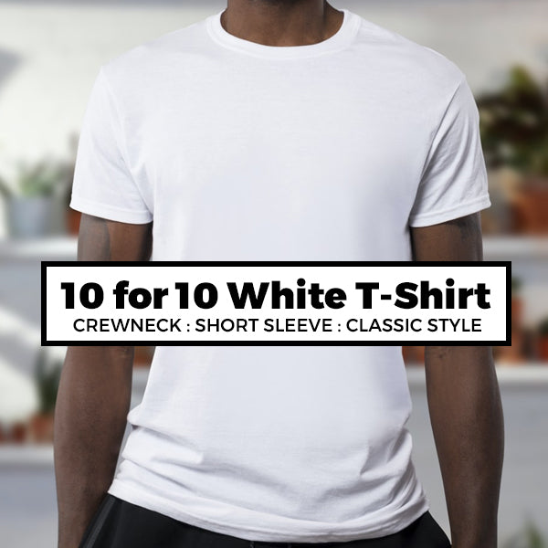 10 for 10 White T-Shirt Deal