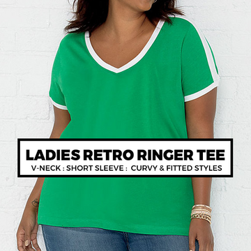 (D6) Ladies Retro Ringer Tee