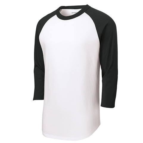 Baseball Tee : 3/4 Sleeve : White/Black : T200/YT200/422