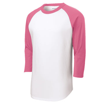 Baseball Tee : 3/4 Sleeve : White/Bright Pink : T200/YT200/BB153W/BB053W