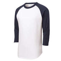 Baseball Tee : 3/4 Sleeve : White/Navy : T200/YT200/422/BB053W