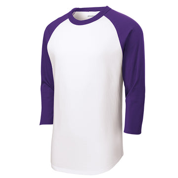 Baseball Tee : 3/4 Sleeve : White/Purple : T200/YT200