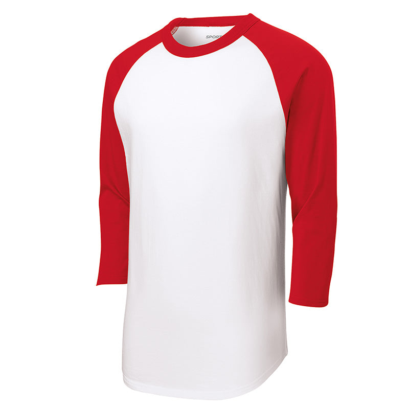 Baseball Tee : 3/4 Sleeve : White/Red : T200/YT200/422/BB053W