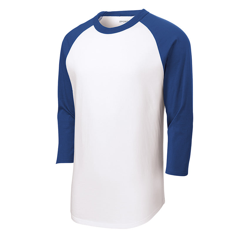 Baseball Tee : 3/4 Sleeve : White/Royal : T200/YT200/422