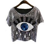 Big Sequin Eye Crop Top