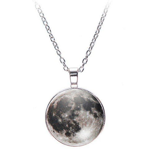 Full Moon 3D Print Pendant Necklace