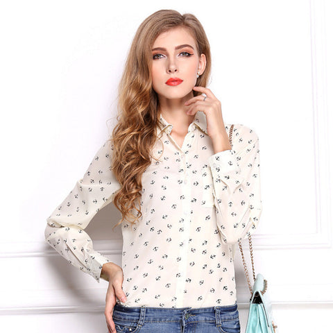 Anchors Long Sleeve Chiffon Blouse