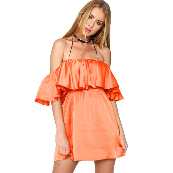 Slouchy Off Shoulder Ruffled Satin Dress