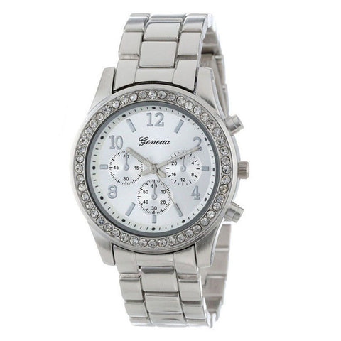Chronograph Plated Geneva Stainless Steel Watch