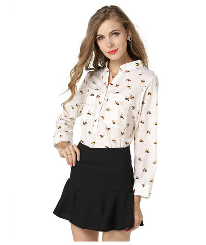 Animal Print Long Sleeve Button Down Blouse