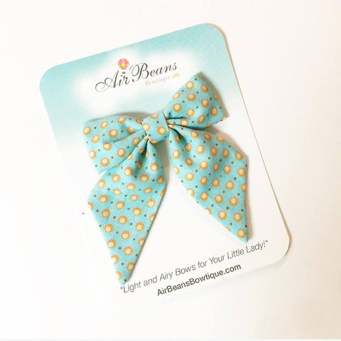 "*Clearance* Delilah Bow in ""Mint and Mustard Dot"""