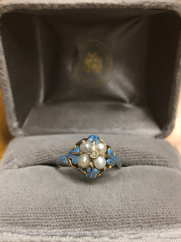 Blue Enamel Victorian Pearl and Diamond Ring - Forget Me Not