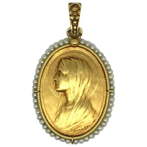 Paul Emile Brandt Gold Pendant Necklace Depicting Mary