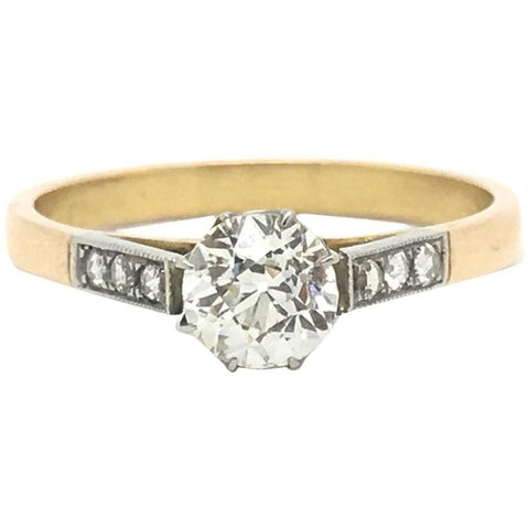 Old Cut Certified Diamond Gold Platinum Solitaire Ring