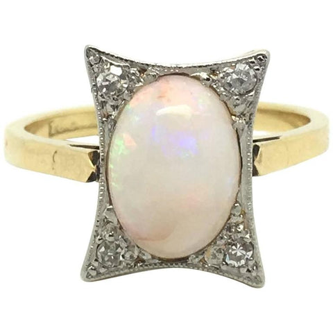 Art Deco Opal Diamond Gold Ring