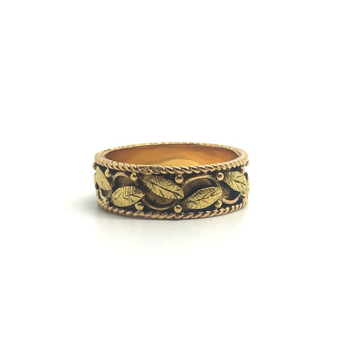 19.2 Carat Gold Portuguese Ivy Leaf Band Ring