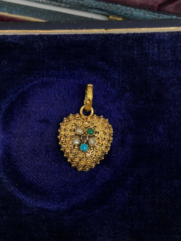 Georgian Gold Heart Locket with Bevelled Glass